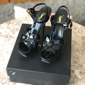 YSL Black Patent Leather Tribute Platform Heels